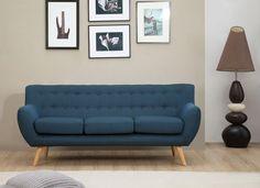 Sixties Retro 3 Seater Sofa - Danish Design-Petrol Blue -1960s Mid Century Couch