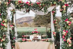 Reuse your ceremony arbor for your dessert table