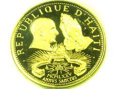 1974  PROOF HAITI 200 GOURDES POPE PAUL GOLD COIN    CO328 d haiti gold coin , gold coin