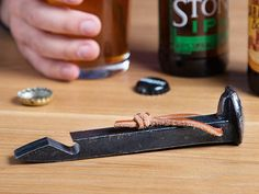 If this wasn't a bottle opener, it would be a heavy-duty spike in an American railroad. It's a solid conversation starter—and it's Made in the USA. Welding Art Projects, Welding Crafts, Metal Art Projects, Welding Ideas, Diy Welding, Fun Projects, Project Ideas, Railroad Spikes Crafts, Railroad Spike Knife