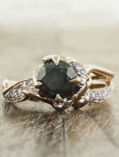unique black diamond and rose gold wedding ring