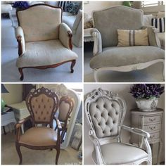 Do you have an old chair that can use a new look? Check out these gorgeous chair makeovers by Lilyfield Life. The chair on top was painted in Paris Grey & Old White Chalk Paint® decorative paint by Annie Sloan while the bottom received a combination of French Linen & Old White! (scheduled via http://www.tailwindapp.com?utm_source=pinterest&utm_medium=twpin&utm_content=post112090361&utm_campaign=scheduler_attribution)