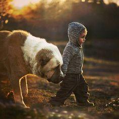 해질녘 개와 아기