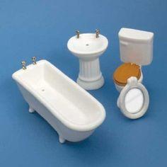 Dollhouse Miniature 4-Pc. White Bath Set