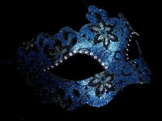 Deluxe Lady Masquerade Mask - Blue