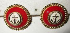 VINTAGE ESTATE RED/WHITE ENAMEL OVER GOLDTONE ANCHOR PIERCED EARRINGS