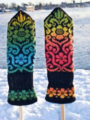 """The mittens measure about 7.5"""" (19 centimeters) around and about 8"""" (20 centimeters) from the start of the pattern chart to the top."""