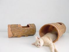 Cat Tunnel Large Hideout Log by SAYSCULPTURES on Etsy