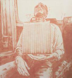 BARTEK MATERKA, bez tytułu [autoportret w autobusie], 2013, oil on canvas, 130 x120 cm