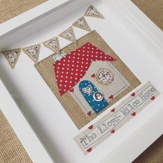 New home family frame gift. Personalised rustic design house | Etsy Sea Glass Wedding, Bunting Design, 25th Anniversary Gifts, Welsh Gifts, Applique, White Box Frame, Personalised Frames, Heart Frame, Wedding Frames