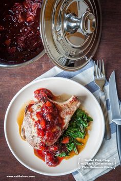 Stuffed Pork Chop Recipe with Chard, Cherries and a Plum Balsamic Reduction Glaze.