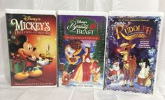 Christmas Holiday Disney VHS Lot Of Three  Mickey Mouse Beauty And The Beast