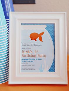 Cute invite at a Goldfish Birthday Party!  See more party ideas at CatchMyParty.com!