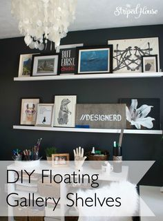 mini office makeover with DIY floating gallery shelves