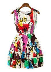 Trendy Style Scoop Collar Sleeveless Abstract Print Women's Sundress