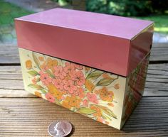 Vintage Pink Floral Recipe File - Flowery Ohio Art Co. Metal Box - Feminine Index Card Organizer