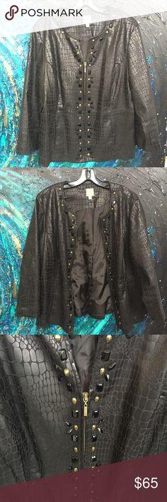 Crocodile skin print blazer w beaded accents Beautiful animal print blazer with bead accents JM Collection Jackets & Coats Blazers
