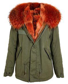 MR & Mrs Furs orange fur lined parka