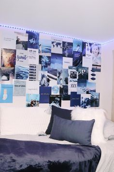 Pack of 21 Navy Blue Dorm Poster Pack College Bedroom Decor, College Dorm Rooms, Room Ideas Bedroom, Best Dorm Rooms, Blue Room Decor, Blue Rooms, Blue Bedroom, Dorm Themes, Dorm Room Decorations