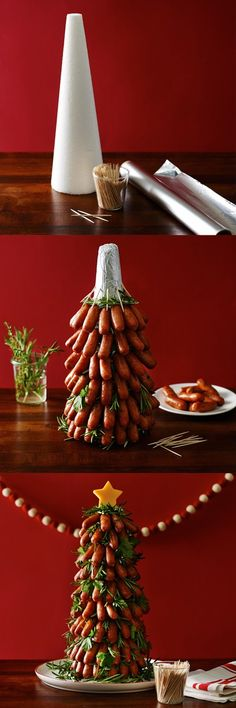 Amazing! An edible Christmas tree centerpiece made from Little Smokies! Easy DIY holiday party food ideas! #product_design