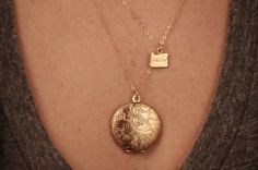 Floral Locket Necklace 14kt Long Gold Necklace Chain by FreshyFig