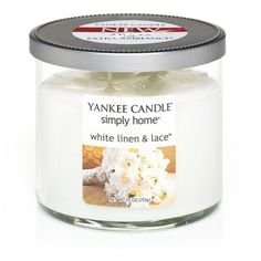 Yankee Candle simply home 10-oz. White Linen and Lace Jar Candle ($20) ❤ liked on Polyvore featuring home, home decor, candles & candleholders, white, yankee candle, white home accessories and white home decor
