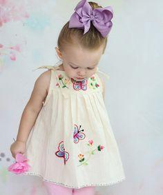 Look at this #zulilyfind! Ecru Butterfly Tunic - Infant, Toddler & Girls #zulilyfinds