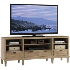 Monterey Sands Spanish Bay Entertainment Console with Four Drawers by Lexington at Becker Furniture World Lexington Furniture, Sand Collection, Lexington Home, Entertainment Furniture, Entertainment Products, Entertainment Units, Brown Wood, Adjustable Shelving, Entertaining
