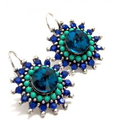 Flower Shaped Earrings in Green and Blue