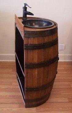 Half Whiskey Barrel Vanity-Dark Copper Sink-Bronze | Etsy #bathroomsink