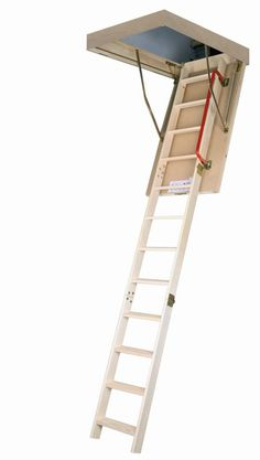 Thermo Wooden Attic Ladder - The traditional look and innovative safety features of the Fakro ft. Thermo Wooden Attic Ladder make it a fine addition to any home. This attic. Attic Ladder, Attic Stairs, Attic Floor, Attic House, Attic Window, Attic Playroom, Attic Rooms, Attic Library, Attic Office