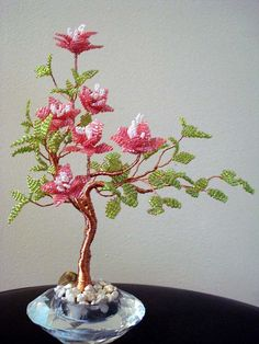 Beaded Plant  Pink by artofbeads on Etsy