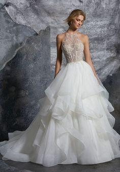 06bce6a0fa5c Mori Lee 8202 Kali Cutout Back Wedding Dress with Flounced Skirt