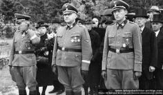 Candid group portrait of unidentified Waffen SS ranking officers and civilians attending a funeral. From left to right, front line, an SS-Gruppenführer und Generalleutnant der Waffen-SS, an SS-Obergruppenführer und General der Waffen-SS, and an SS-Brigadeführer und Generalmajor der Waffen-SS. Unknown date and location. Most likely, this was the farewell to another Waffen SS general officer.