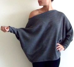 Plus size knitted top/ Women plus size clothing/ Dolman oversize black plus size knitted top with bat sleeves ON SALE. $49.00, via Etsy.