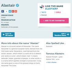 Alastair ❤ . A Scottish variant of Alexander. . What do you really think??? . Would you consider giving your baby the name Alastair or Alexander? . . Like it . no way . Maybe . http://babynames.net/names/alastair #babynames #bellyballot