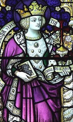 (St.) Aethelburh of Kent/Ethelburga was the daughter of King Aethelred and his wife, Bertha. In 625, Aethelburh married King Edwin of Northumbria, a pagan, whom she eventually converted. Aethelburh, along with her mother Bertha, was praised by the Venerable Bede for converting their husbands. After her husband's death, Aethelburh founded one of the first Benedictine nunneries in England at Lyminge. She became it's abbess and taught medicine and healed the sick.
