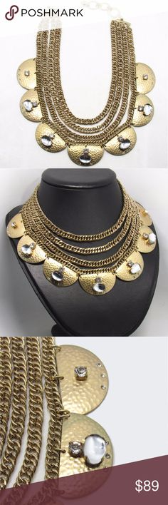 NEW 22K Gold-Plated Brass Choker Necklace - Sequin NWOT.  Made of 22K gold-plated brass elements with semi-precious stones and Swarovski crystals.  Sequin is a NYC-based design studio known for contemporary chic with a romantic edge. Sequin NYC Jewelry Necklaces