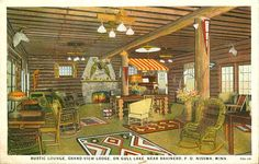 Rustic Lounge, Grand View Lodge, Gull Lake, Brainerd, MN, 1925