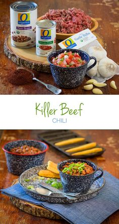 Killer Beef Chili – This football season, take a shot at this rich and flavorful chili that's guaranteed to kill the game and have your fellow tailgaters talking about it for seasons to come. Fall Recipes, Soup Recipes, Snack Recipes, Dessert Recipes, Cooking Recipes, Yummy Snacks, Yummy Food, Easy Starters, Fall Dinner