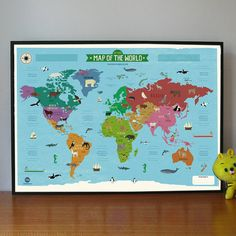 my first world map poster by marcus walters   notonthehighstreet.com for child's room