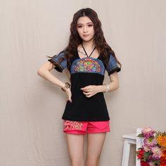 Mandarin Style Modern Open Neck Shirt - Black - Chinese Shirts & Blouses - Women