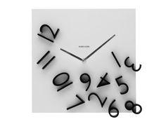 Present Time Karlsson Wall Clock Falling Numbers, Black White Unusual Clocks, Cool Clocks, Melting Clock, Diy Clock, Clock Ideas, Clock Wall, Modern Wall, Numbers, Sweet Home