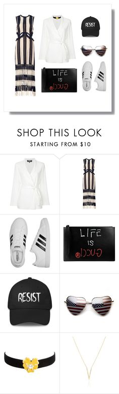 """""""WHITE SUIT"""" by coolsoniccat on Polyvore featuring Paule Ka, self-portrait, adidas, Gucci, Kenneth Jay Lane and Smith+Mara"""