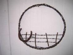 Barbed Wire Fence Horse Shoe Wreath Vintage Cowboy Primitive ...
