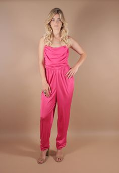 70s Vintage Disco Pink Studio 54 Romper | Slinky Cowl Neck Jumpsuit | Pant Suit | Playsuit | Large by AmericanDrifter on Etsy