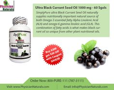 Simply pure Ultra black current seed oil 1000 mg 60 s gels by Physician Naturals is a supplement which supplies nutritional source naturally. It is a natural source of omega 3 fatty acids. Omega 3 essential alpha linolenic acid as well as omega 6 gamma linoleic acid. This wonderful combination makes this oil all the more unique and polular.
