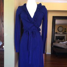 "Sweater dress Cobalt blue, wrap around sweater dress. 25"" from natural waist. Excellent condition. Merona Dresses"