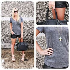 Have a casual weekend! Check out this look from Band Wife Blog knows how to dress up a casual gray tee with those hot black leather shorts & neutral wedges! Our teal diamond pendant & color block rings add the perfect dash of color. Doesn't she look fabulous?! Shop these & tons of other accessories at #urbanpeachboutique #gummergal #bandwifeblog
