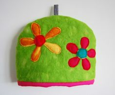 Hand Felted and Appliquéd Bright Flower Tea Cosy